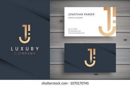 Luxury vector logotype with business card template. Premium letter J logo with golden design. Elegant corporate identity.