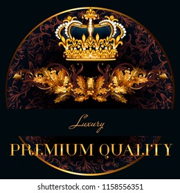 Luxury vector logotype or menu design with crown and wreath frame