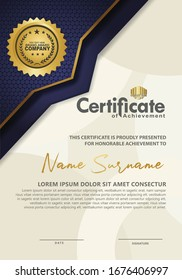 Luxury vertical modern certificate template with blue and gold flow lines effect ornament on texture pattern background,