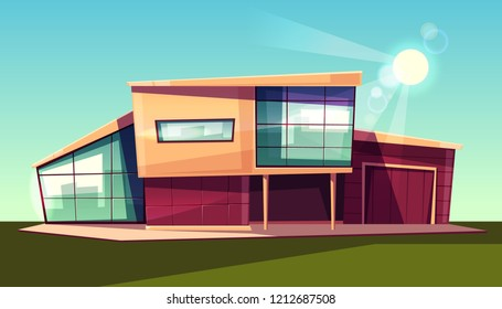 Luxury villa exterior, modern country cottage with garage, house with glass facade in scandinavian style cartoon vector illustration. Prestige real estate property, expensive dwelling in suburb
