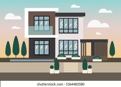 Luxury Villa in modern style. Сontemporary design. Flat vector illustration double decker house with big windows and garage. Luxury Villa in modern style. Сontemporary design.