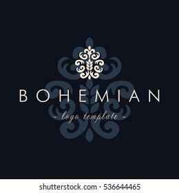 Luxury Vintage Baroque Bohemian logo vector template. Classic Business sign in navy color, identity for Restaurant, Bakery, Royalty, Boutique, Hotel, Heraldic, Jewelery, Fashion , Real estate.