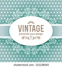 Luxury vintage frame template, invitation design, cute vector illustration
