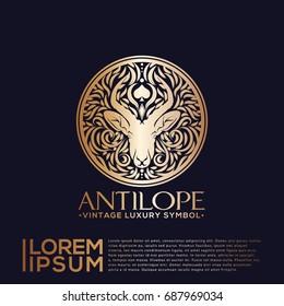 Luxury Vintage Gold Logo Vector with Animal Head Icon