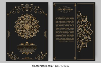 Luxury vintage golden vector invitation card template.