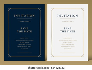 Luxury vintage golden vector invitation card template