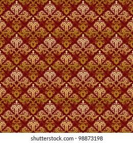 Luxury vintage ornamental background classic damask pattern