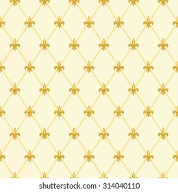 Luxury vintage seamless pattern with  golden fleur de lis on diamond shape grid background, ideal for curtains textile or bed linen fabric or interior wallpaper design etc
