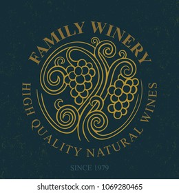 Luxury vintage style wine theme logo. Elegant logotype template for winery, vineyard, wine shop, wine list. Emblem for wine shop, restaurant menu, winery branding and identity.