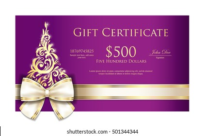 Luxury violet Christmas gift certificate with cream ribbon and gold ornament Christmas tree