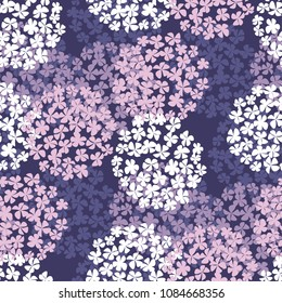luxury violet hydrangea round bouquet seamless pattern. floral stock vector illustration. tile abstract rose color hydrangea flowers fabric, wrapping paper, background template.