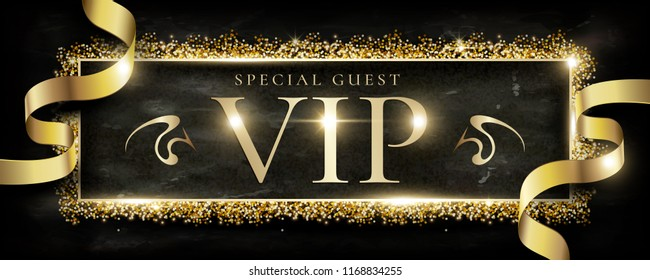 Luxury VIP banner design, Glitter golden   dust frame with golden ribbon, Black marble background.