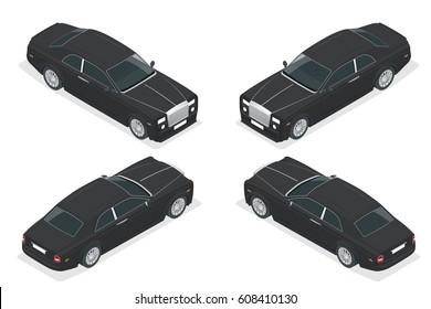 Luxury VIP car. Isometric vector representing an luxury car hire fleet or transportation