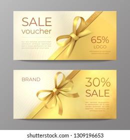 Luxury voucher card. Golden ribbon certificate, elegant celebration coupon, discount promotion flyer. Realistic vector sale mockup
