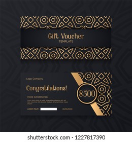 Luxury Voucher template with gold and black background, design coupon, invitation. Set of gift card banner.
