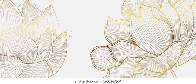 Luxury wallpaper design with Golden lotus and natural background. Lotus line arts design for wall arts, fabric, prints and background texture, Vector illustration.