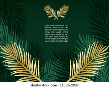 Luxury wallpaper of golden tropical palm leaves on dark green with leaf outlines background. elegant elements with copy space.