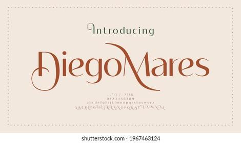 Luxury wedding alphabet number and letter font. elegant classic Typography lettering serif fonts, decorative vintage retro concept. vector illustration