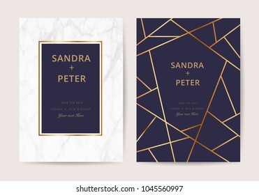 Luxury wedding cards with marble texture and gold geometric line design for cover, banner, invitation, Vector illustration