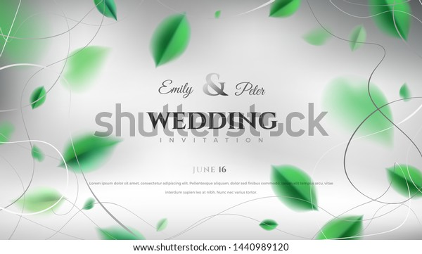 Luxury Wedding Invitation Background Green Spring Stock
