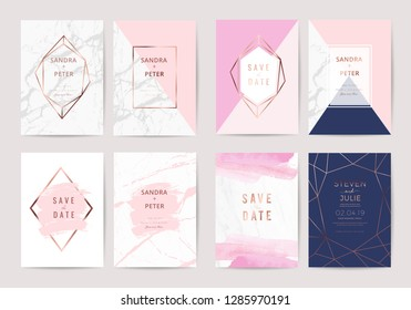 Luxury wedding invitation card design collection With Marble texture and  Rose gold ,indigo background Vector