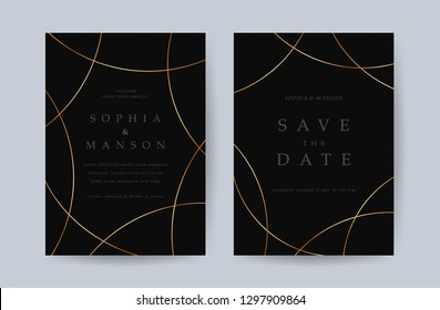 Luxury Wedding invitation Card. Design with Minimal Golden Geometric shape pattern Can be adapt to covers design, RSVP, brochure, Packaging backgrounds, poster and greeting cards. Vector illustration.