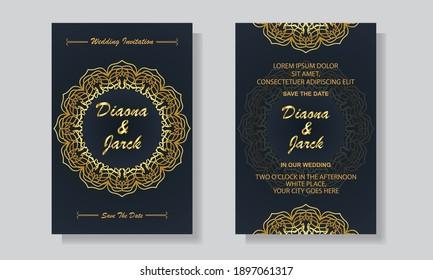 Luxury Wedding Invitation Card Design Template With Golden Mandala Background