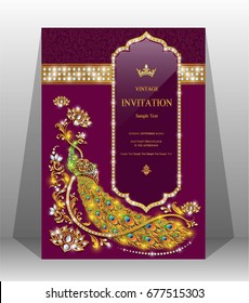 Luxury wedding invitation card with gold peacock patterned and gem diamond jewelry have glitter on paper color.