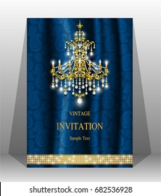 Luxury wedding invitation card with gold chandelier lamp patterned and gem diamond jewelry have glitter on silk fabric with luster background.