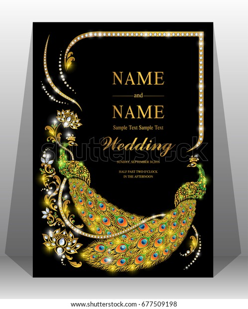 Luxury Wedding Invitation Card Gold Peacock Stock Vector