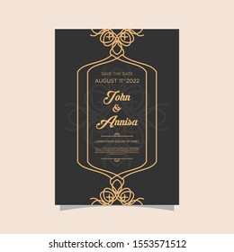 Luxury wedding invitation card Vector. Rich rococo backgrounds. Royal victorian pattern ornament. Made with golden foil Isolated on black background. vector illustration.