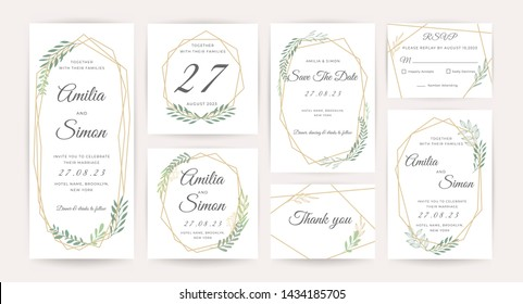 Luxury Wedding invitation cards collection set.