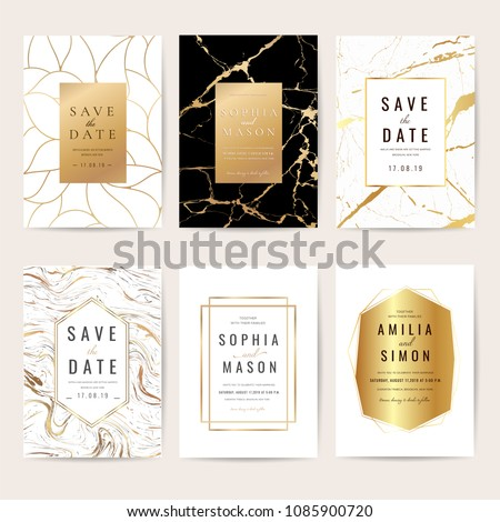 Luxury Wedding Invitation Cards Collection Marble Wektor