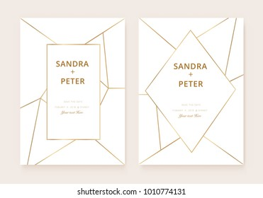 Luxury wedding invitation cards with gold geometric pattern vector modern design template