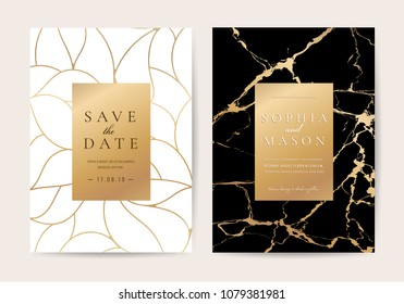 Luxury wedding invitation cards with gold marble texture and geometric pattern vector design template