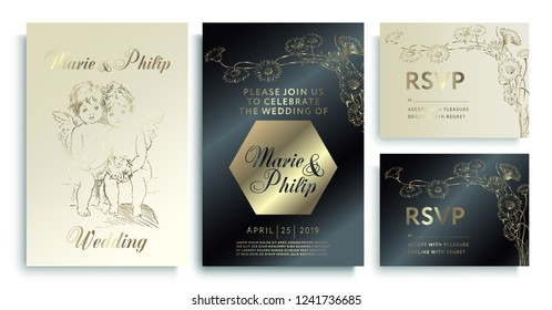 Luxury wedding invitation cards with gold texture. Luxury wedding invitation frame set; angels, flowers, leaves isolated on gold, white, black background