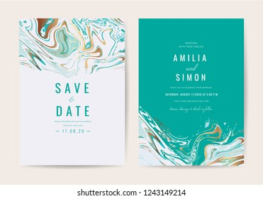 Luxury wedding invitation cards with gold and metallic marble texture and geometric pattern vector design template