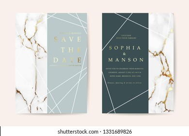 Luxury wedding invitation cards with gold marble texture vector design template