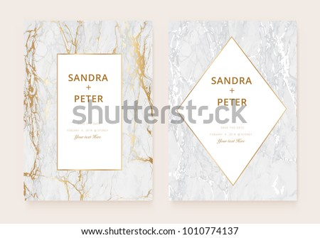 Luxury Wedding Invitation Cards Gold Marble Stock Vector Royalty