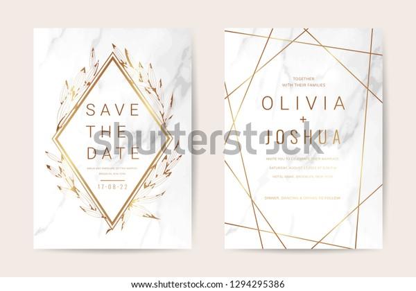 Luxury Wedding Invitation Cards Gold Marble Wektorowa