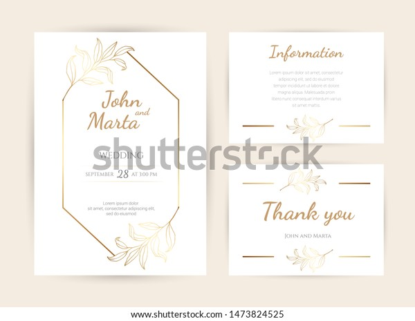 Luxury Wedding Invitation Cards Gold Geometric Stock Vector
