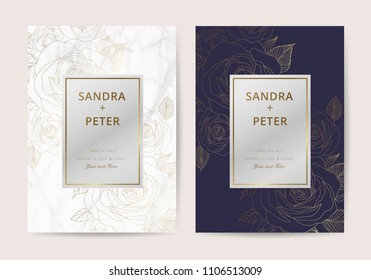 Luxury wedding invitation cards with indigo and gold marble texture and rose flower geometric pattern vector design template