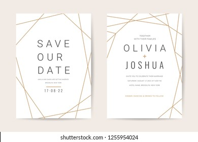 Luxury wedding invitation cards with modern geometric gold pattern vector design template