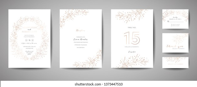 Luxury Wedding Invitation Set with Floral Elements. Save the Date Card Collection with Foliage Golden Flowers. RSVP Design with Leaves Ornament. Vector illustration