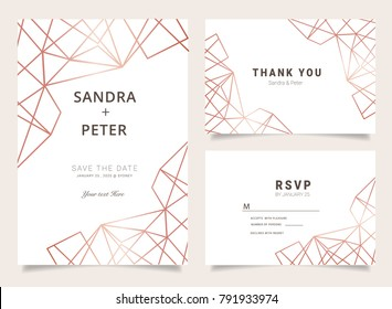 Luxury wedding invitation set with Thank you card, RSVP, with geometric shapes pattern
