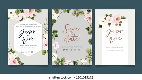 Luxury Wedding Invitation set vector