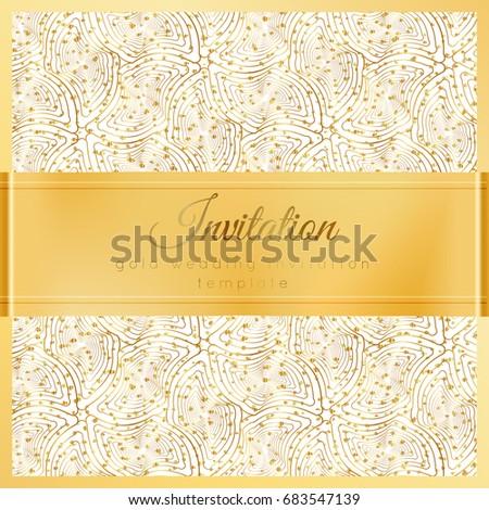 Luxury Wedding Invitation Template Gold Shiny Stock Vector Royalty