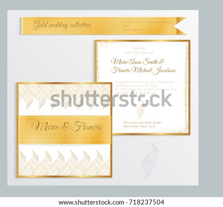 Luxury Wedding Invitation Template With Gold Shiny Realistic Ribbon Back And Front Square Card Layout
