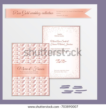 Luxury Wedding Invitation Template With Rose Gold Shiny Realistic Ribbon Back And Front Card Layout