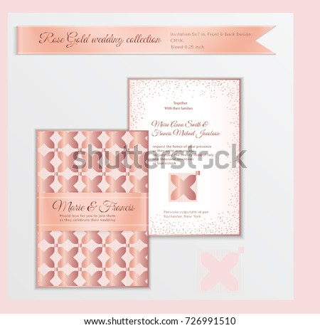 Luxury Wedding Invitation Template Rose Gold Stock Vector Royalty